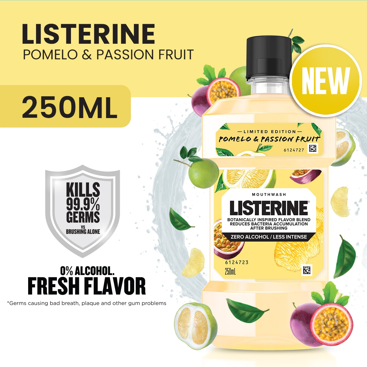 LISTERINELISTERINE POMELO & PASSIONFRUIT 250ML,Mouthwash and Oral AntisepticsGet 10% disc when you purchased minimum P500 worth of Health and Beauty products using COLLECT10
