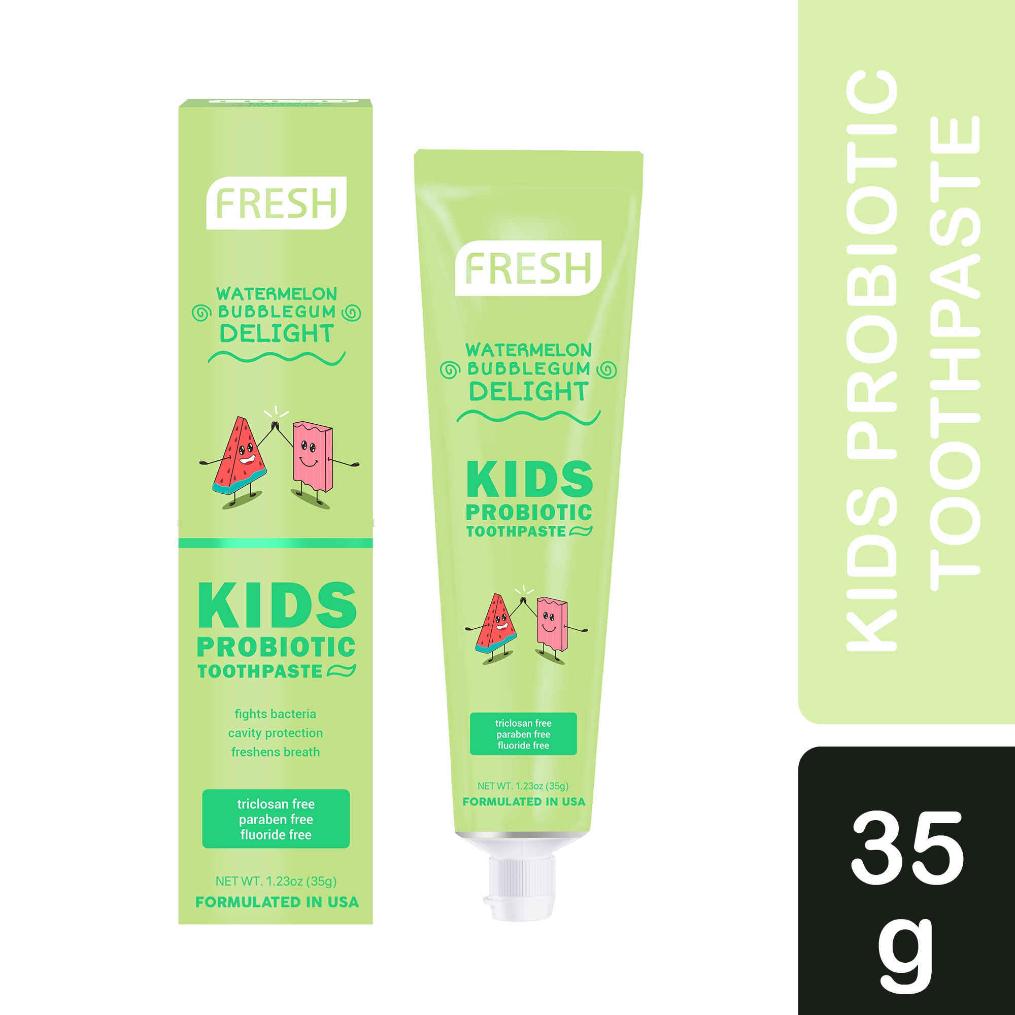 FRESHKids Probiotic Toothpaste Watermelon Bubblegum Delight 35g,Baby and Kids' Toothbrush and Toothpaste