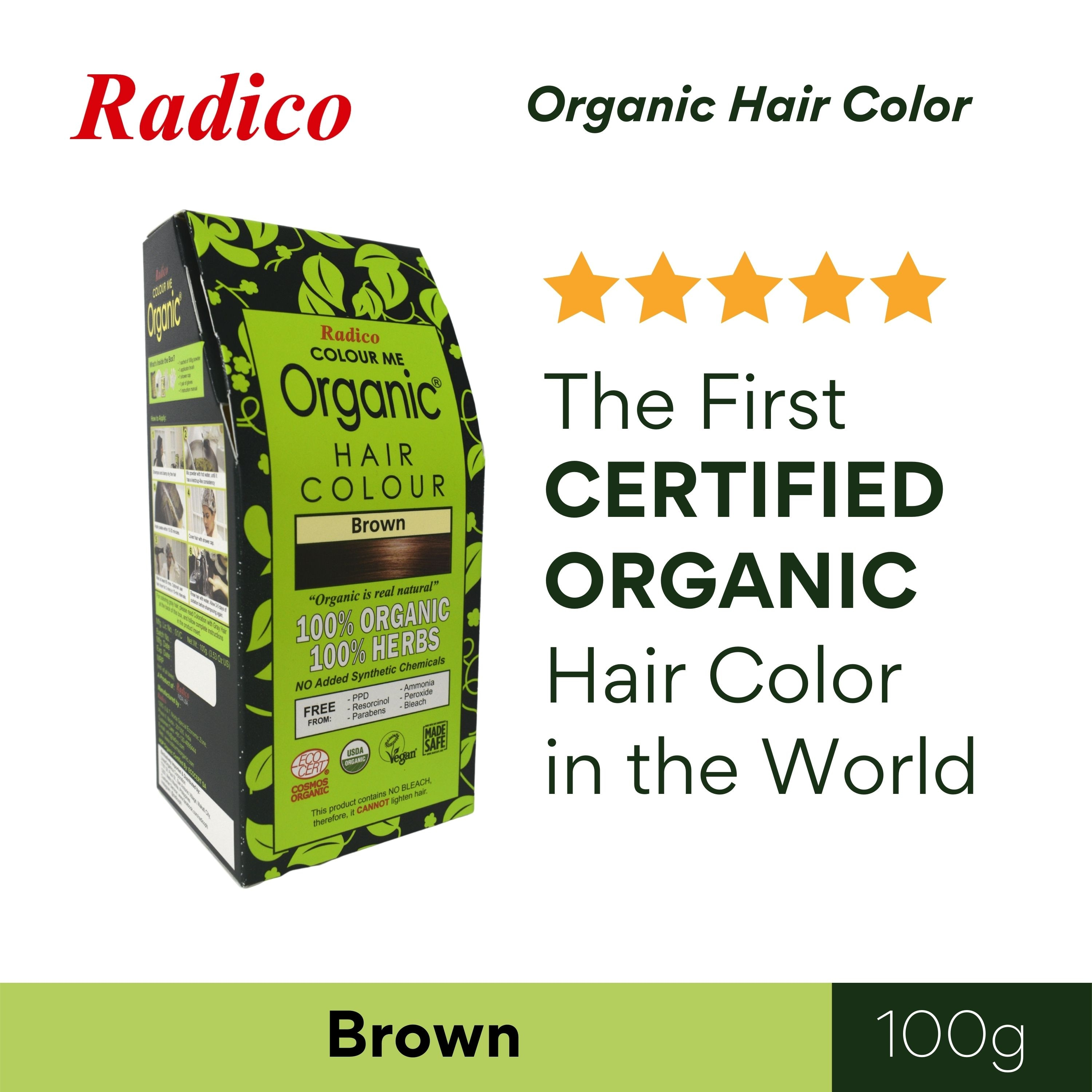 RADICOColour Me Organic Hair Color - Brown 100G,Natural Herbal/ OrganicGet 10% disc when you purchased minimum P500 worth of Health and Beauty products using COLLECT10