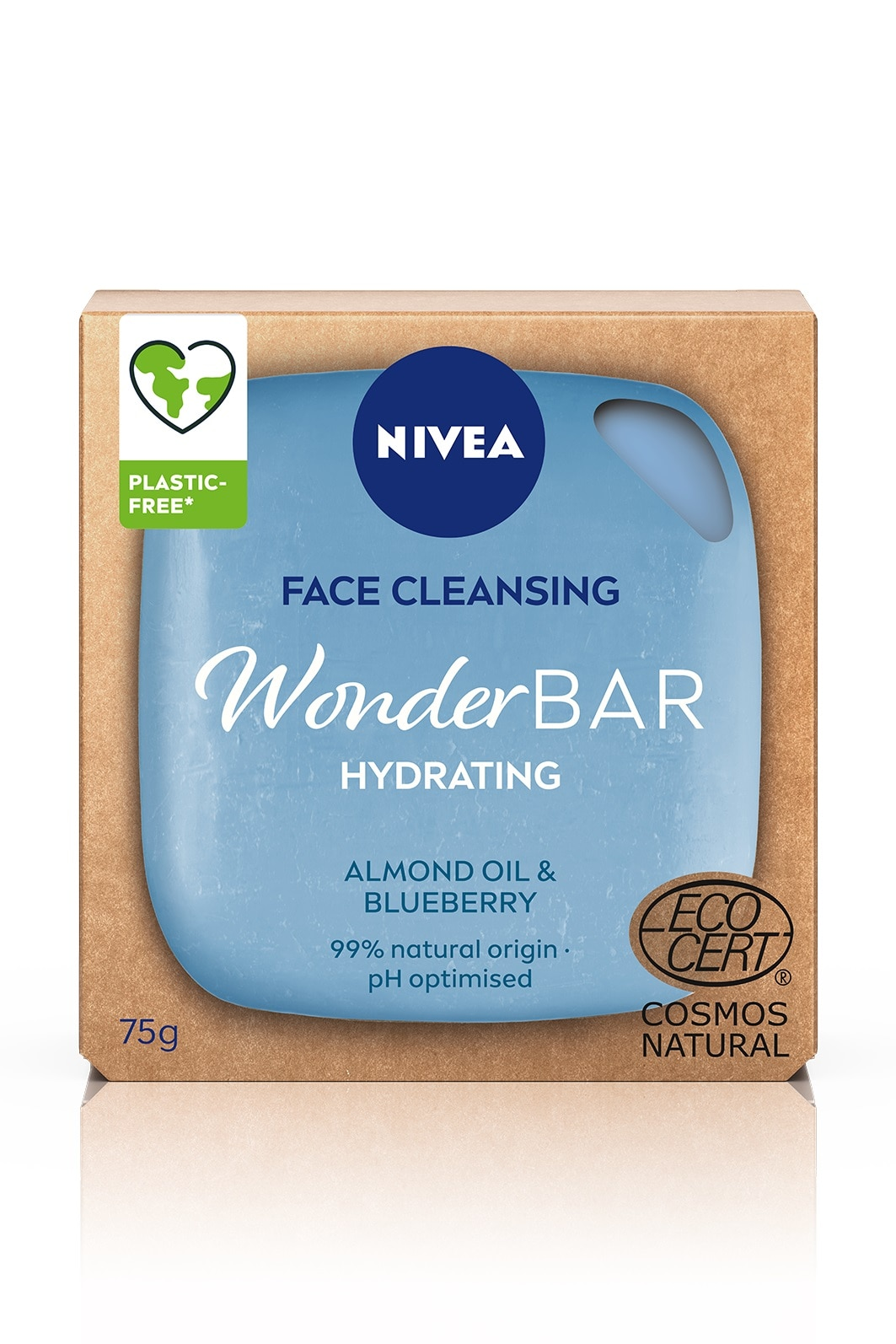 NIVEAFace Cleansing WonderBar Hydrating Almond Oil & Blueberry 75g,--