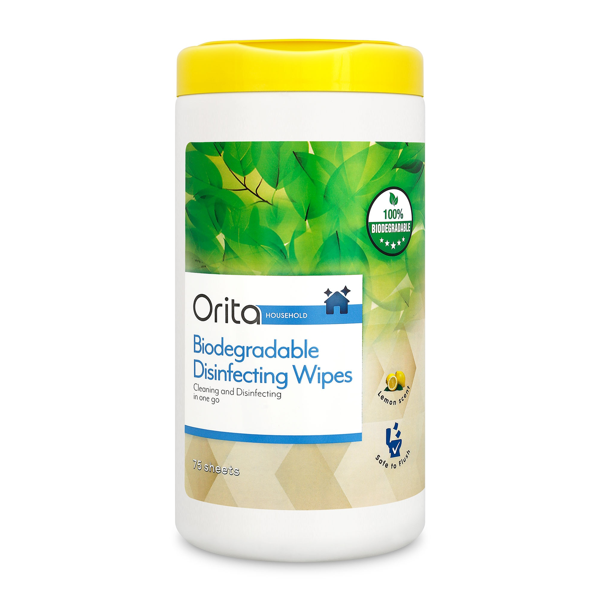 ORITABiodegradable Disinfecting Wipes Lemon Scent 75 wipes,Alcohol and DisinfectantAll Must Go Sale