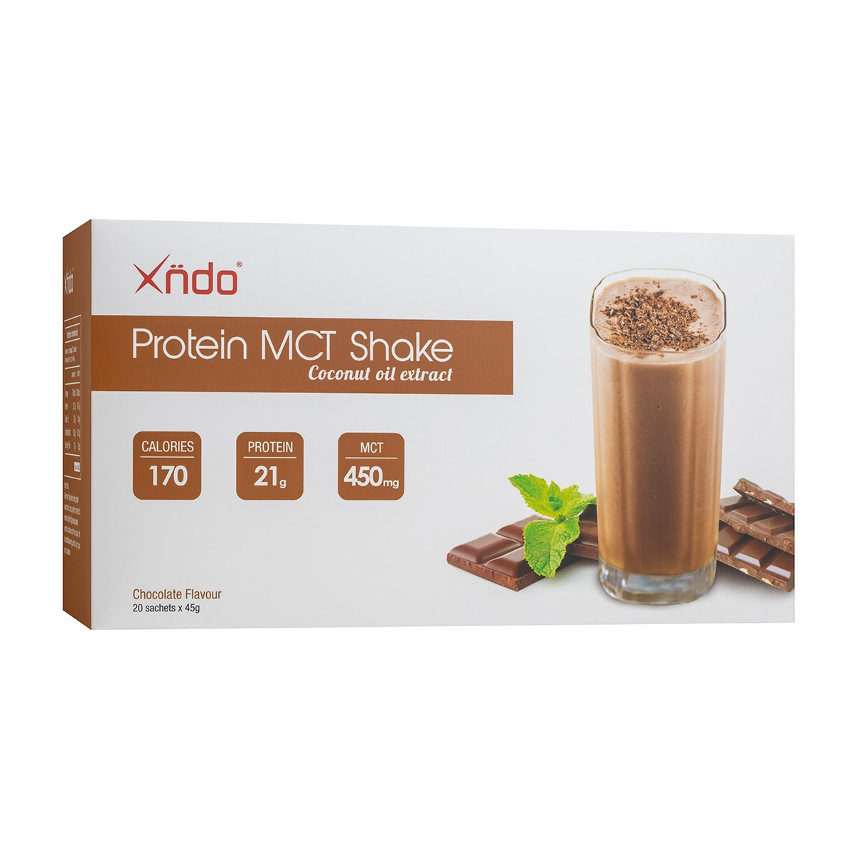 XNDOProtein MCT Shake Choc Flavour 45g per Sachet,Health DrinksFREE (1) Portable Fan for a minimum P900 worth of purchase on participating items