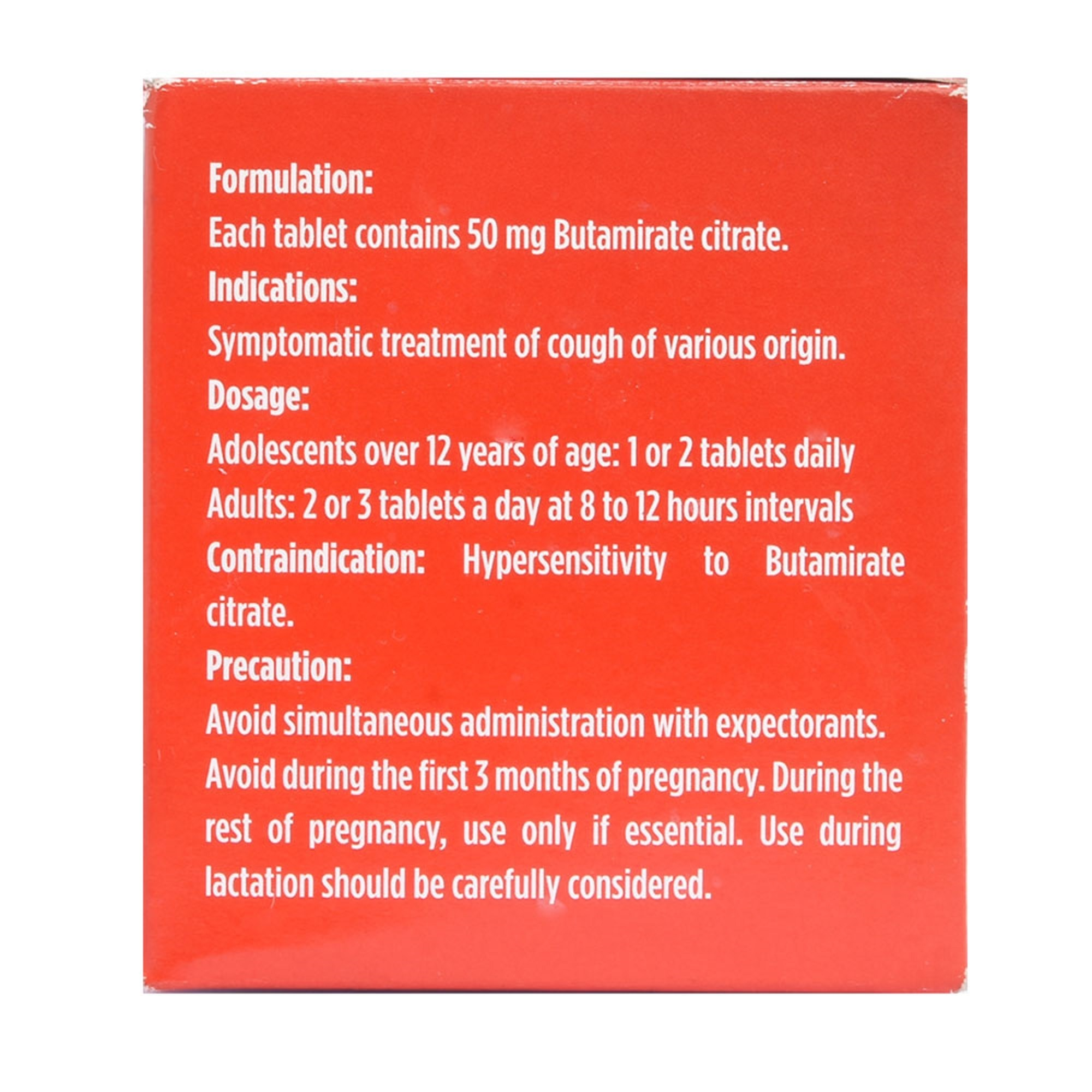 SINECODButamirate Citrate 50mg 1 Tablet,Cough, Cold and Flu