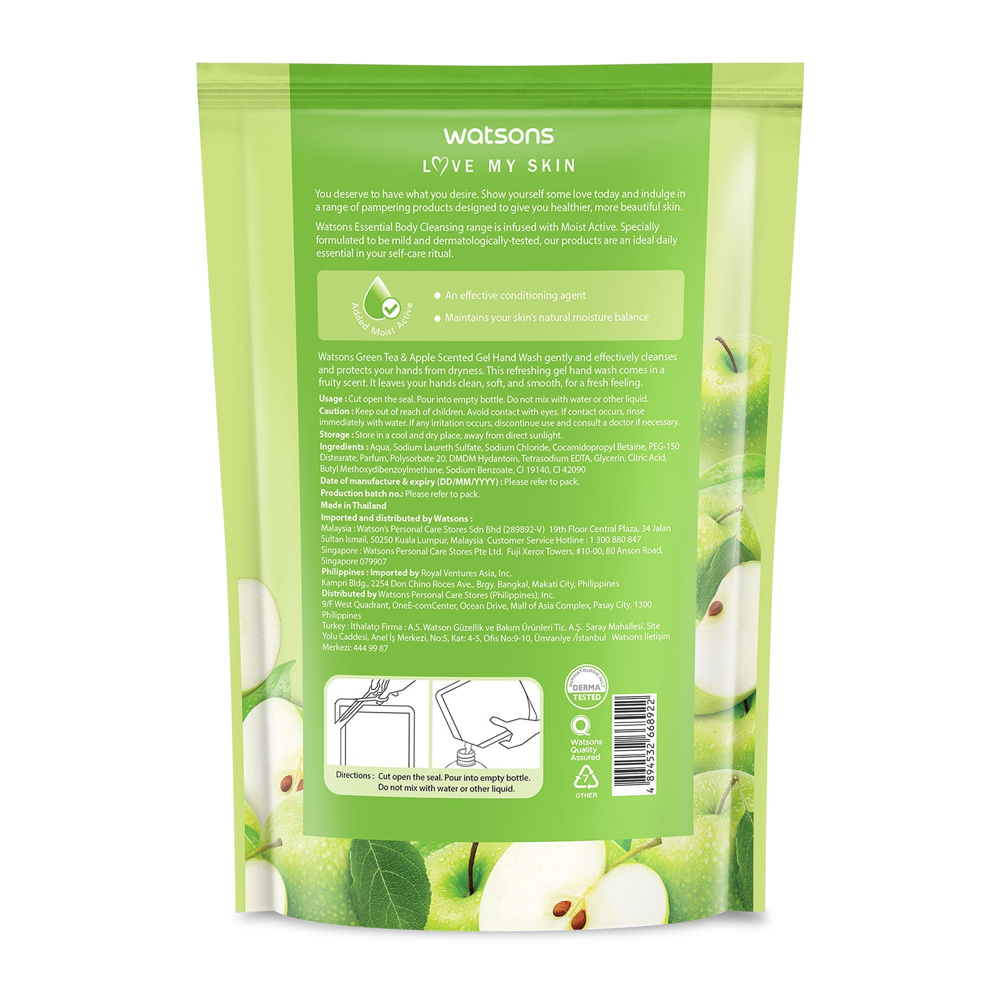 WATSONSGreen Tea and Apple Scented Hand Soap Refill 500ml,Hand Soap/SanitizersSwitch and Save