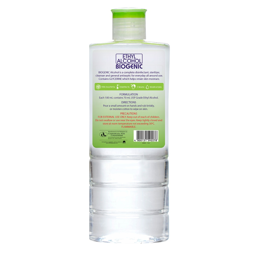 BIOGENICEthyl Alcohol 70% 500mL,Alcohol and DisinfectantAntiseptics and Disinfectants