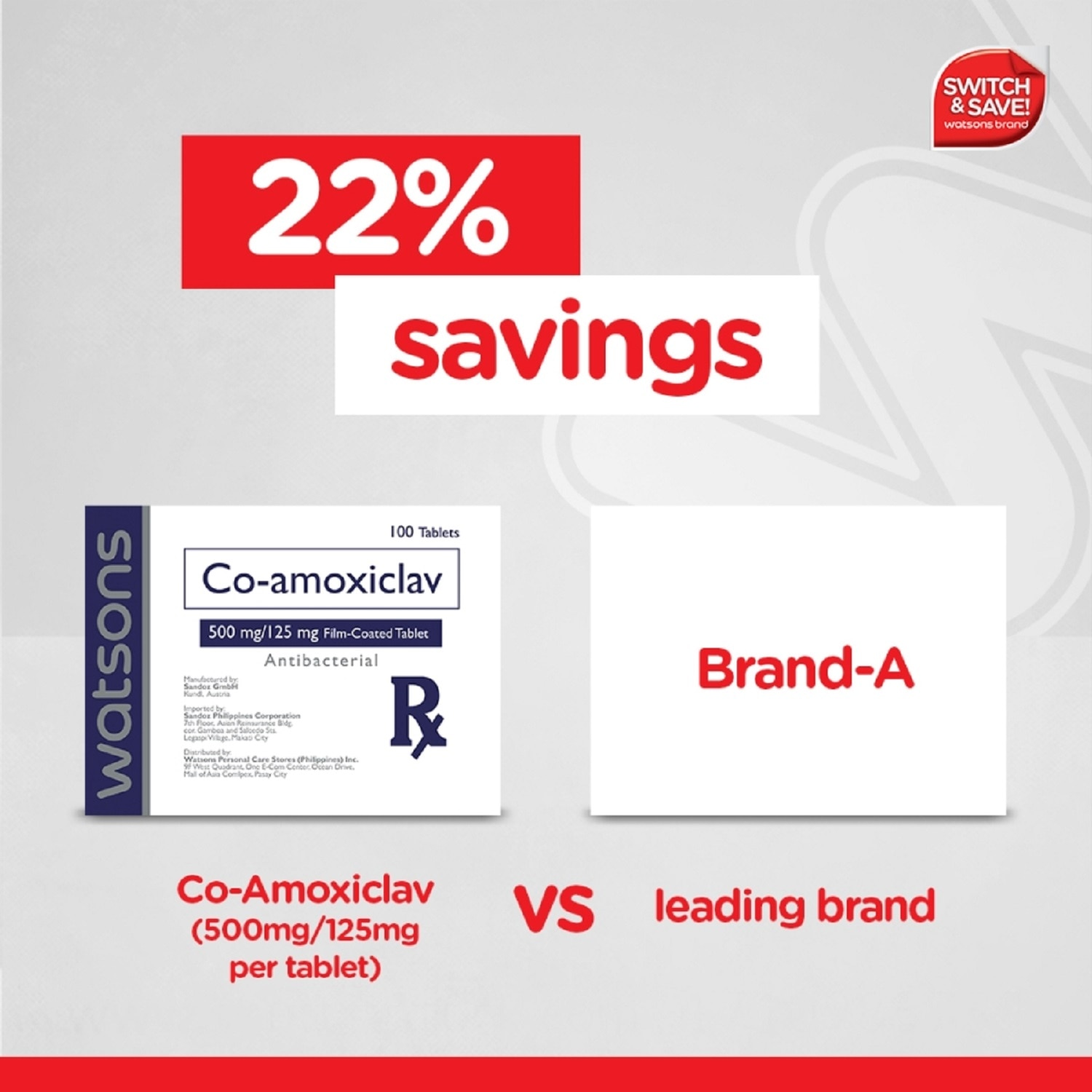 WATSONSCo-amoxiclav 625mg 1 Tablet [PRESCRIPTION REQUIRED],Antibiotics21 For 30% off COMPLY N SAVE TIL 2025