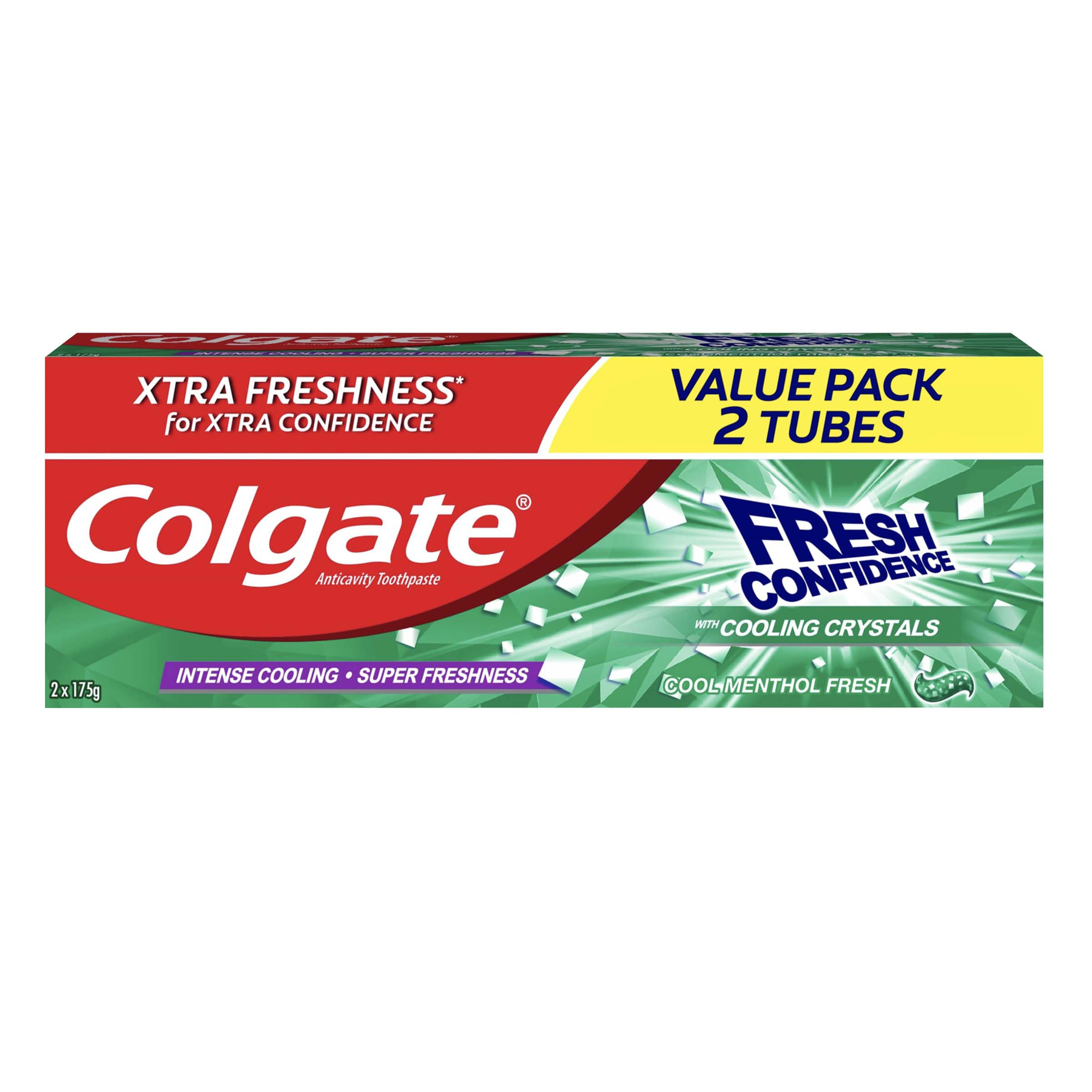 COLGATEFresh Confidence Cool Menthol Fresh Toothpaste for Fresh Breath 175g 2 Tubes,ToothpasteClean Beauty