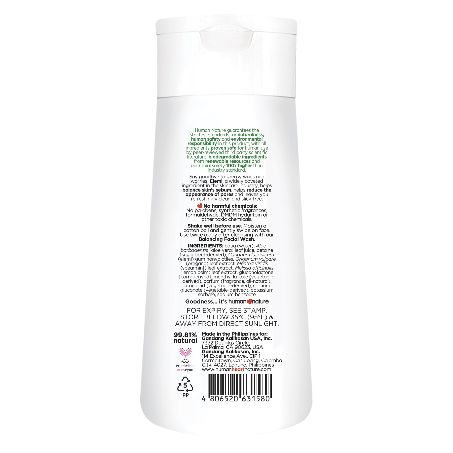 HUMAN NATUREBalancing Toner 100ml,For WomenFree (1) Watsons Dermaction Plus Antiacne St20x2 for every purchase of Skin Care products