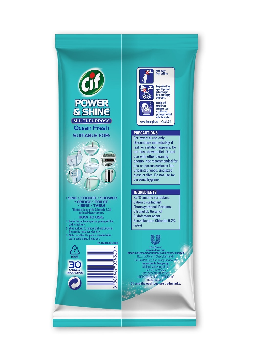 CIFPower & Shine Multi-Purpose Ocean Fresh 30 Sheets,Alcohol and Disinfectant