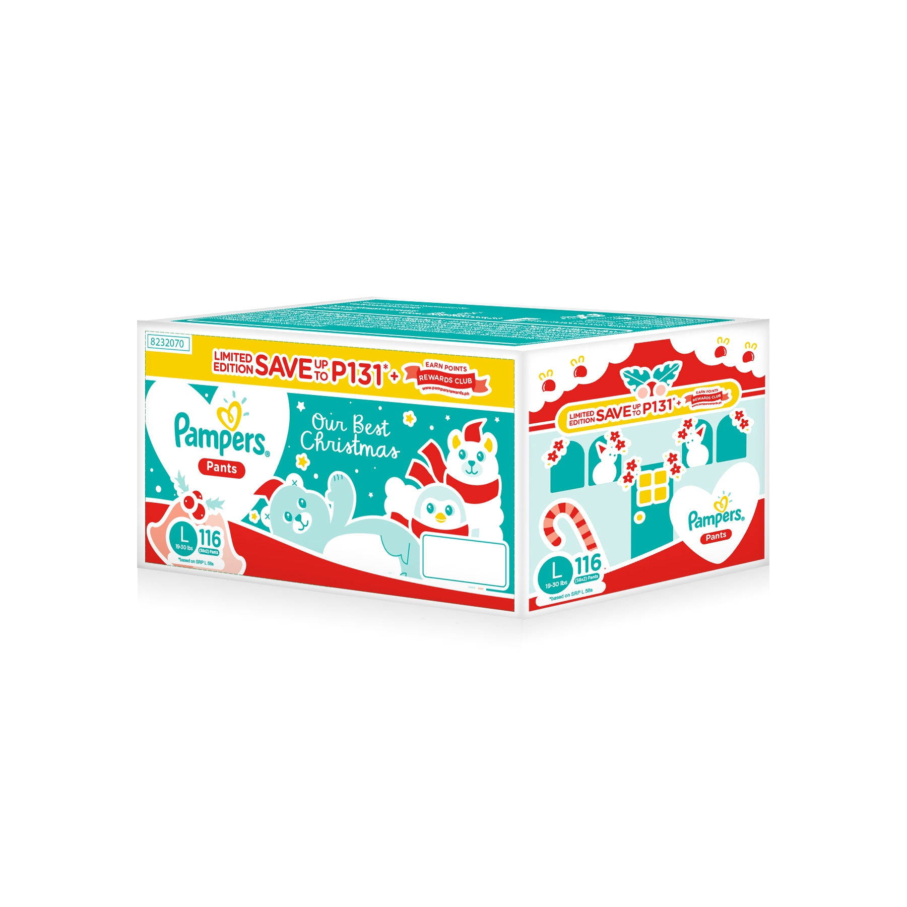 PAMPERSBaby Dry Pants Christmas Box Super Jumbo Pack Large 58,Washable Diapers