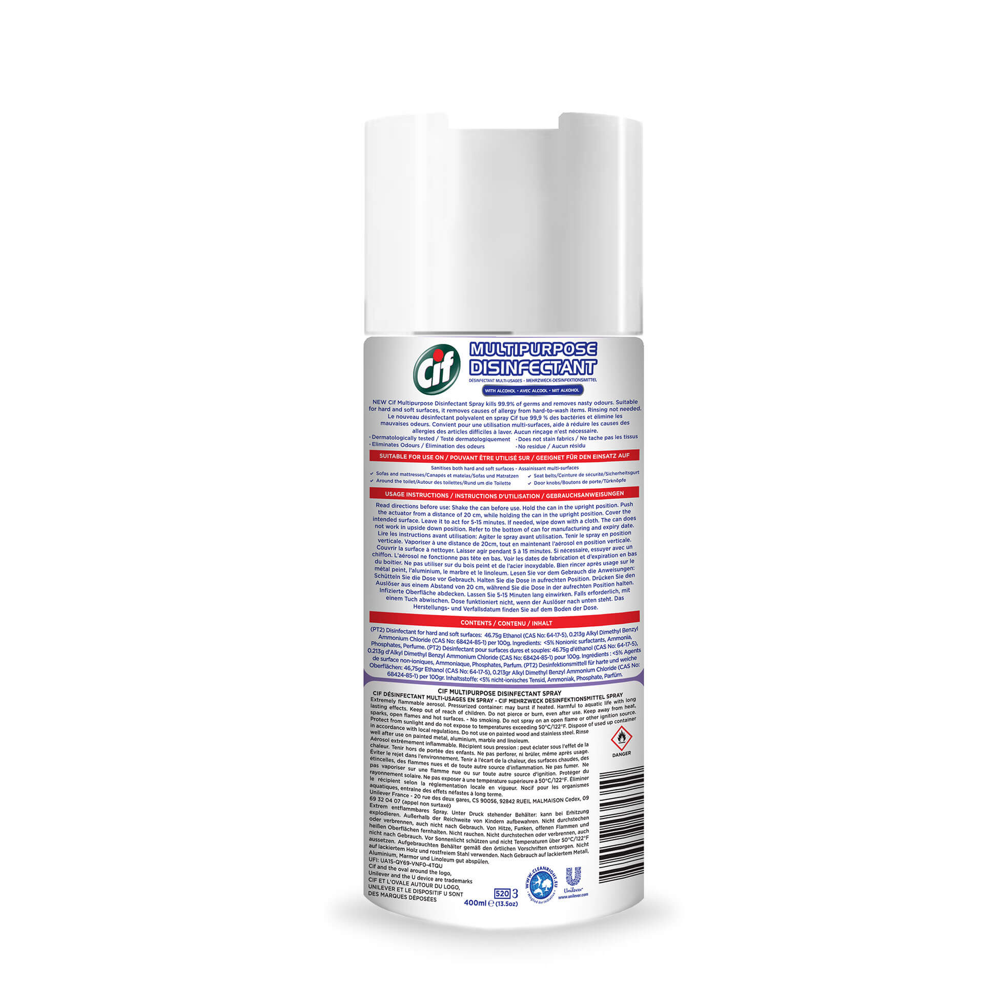 CIFMultipurpose Disinfectant Spray Wild Flowers 400ML,Alcohol and Disinfectant
