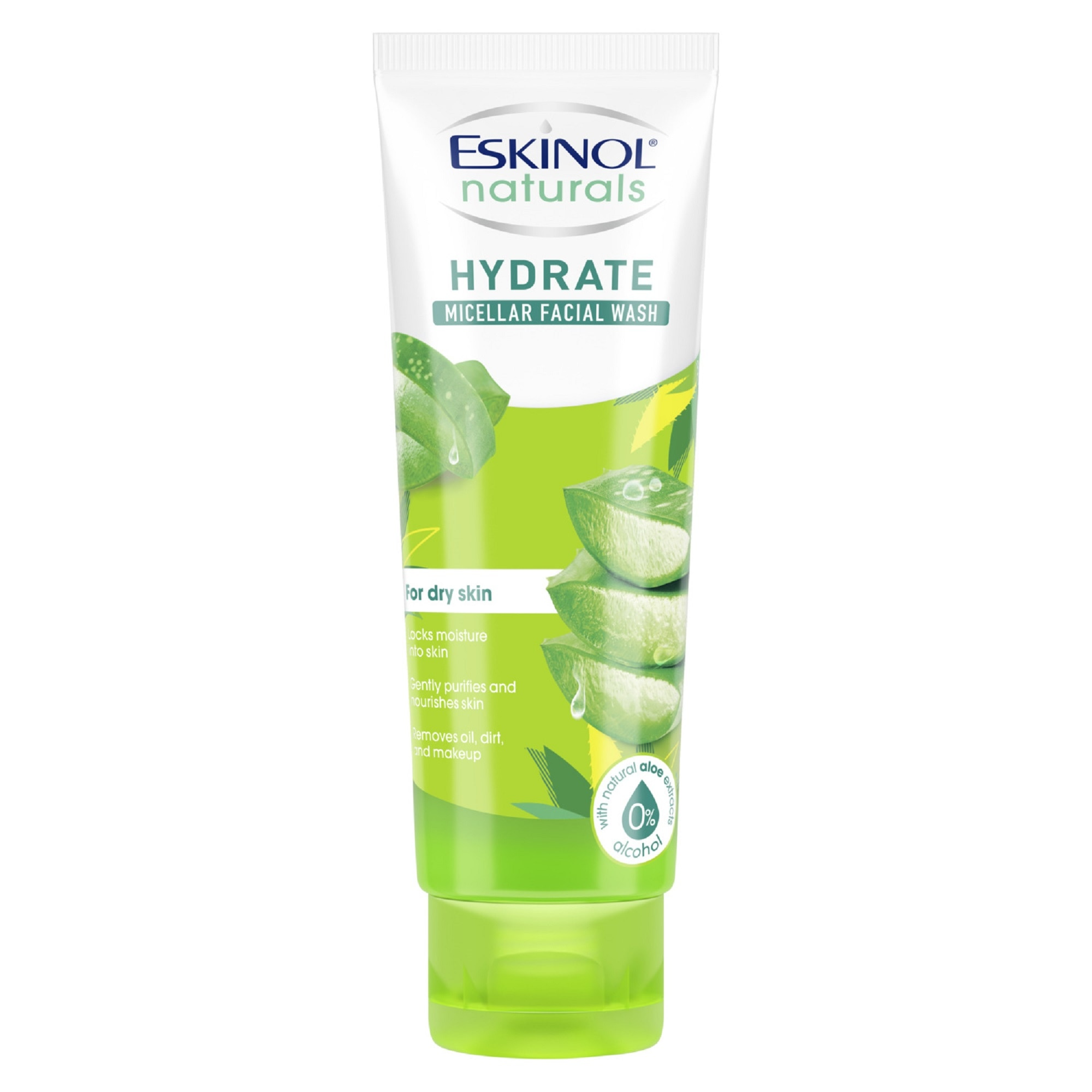 ESKINOLNaturals Micellar Facial Wash Hydrate with Natural Aloe Extracts 100g,For WomenFree (1) Watsons Dermaction Plus Antiacne St20x2 for every purchase of Skin Care products