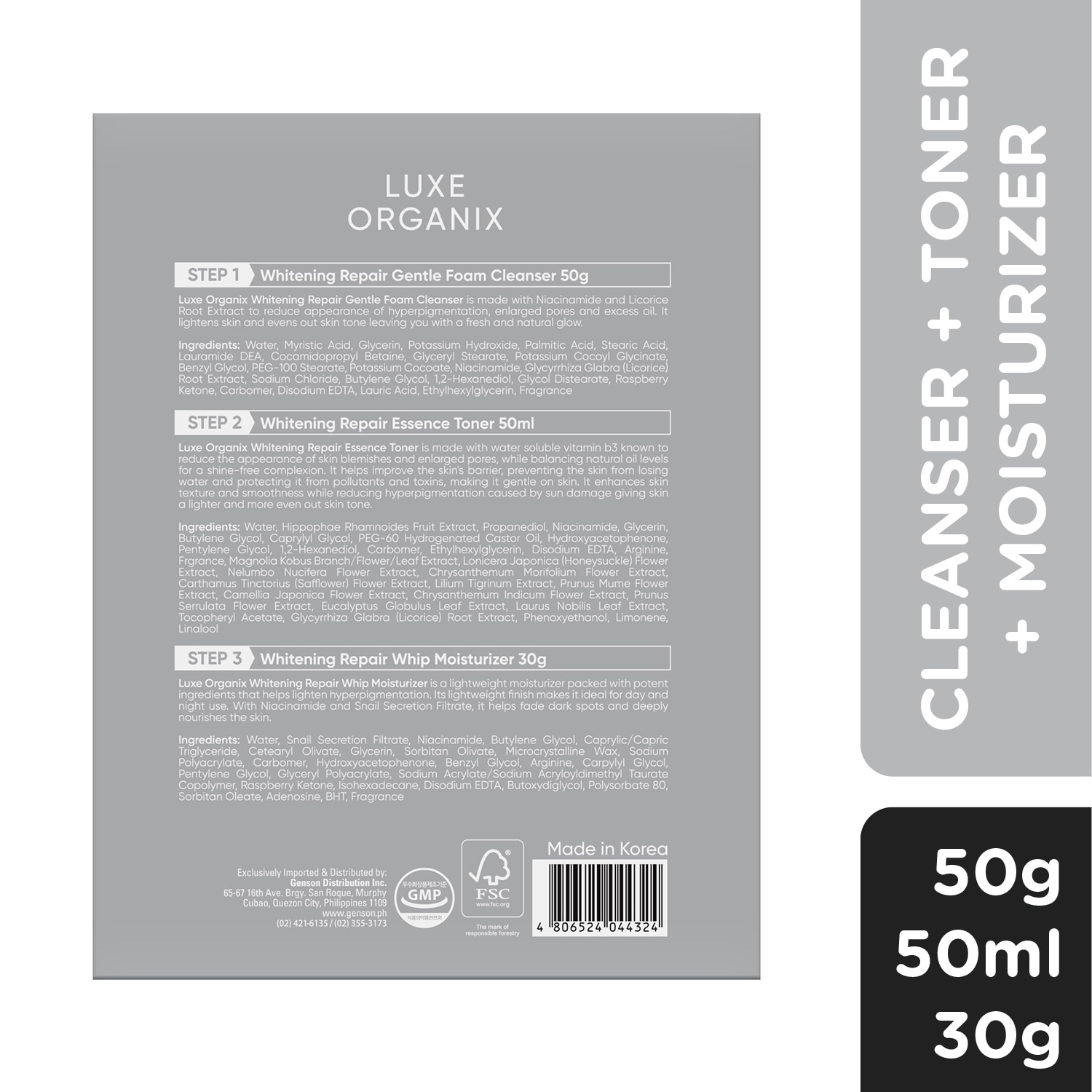 LUXE ORGANIXWhitening Repair Starter Kit Inclusions: Cleanser 50ml,For Women