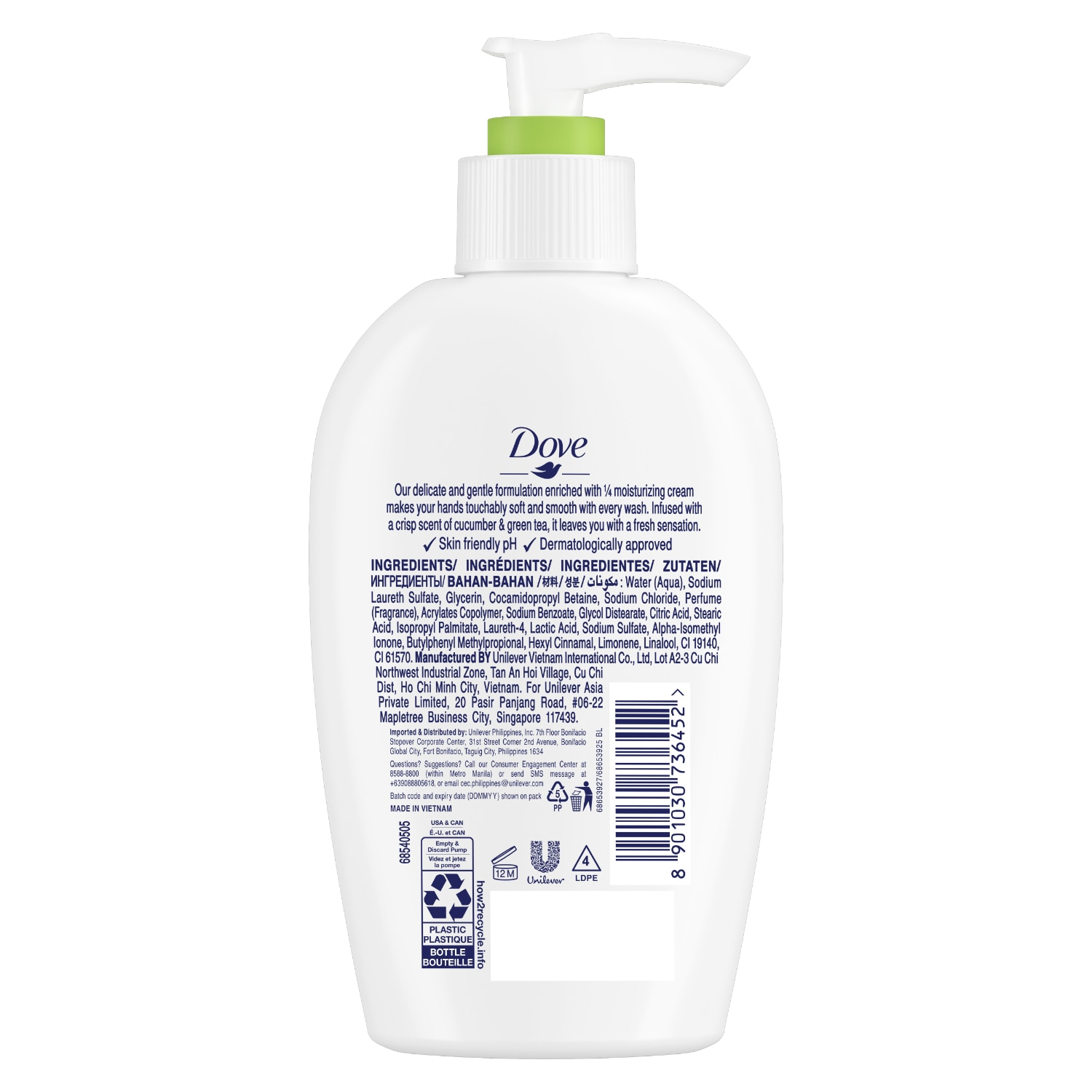 DOVENourishing Hand Wash Cucumber and Green Tea 250ml,Extra P140 off – min spend P1,000 (code:SC140) - Members Only, P70 off – min spend P800 (code: SC70) P35 off - min spend P600 (code:SC35) Promo exclusions: Health items, Milk, B1T1 and Buy xx for xx promos
